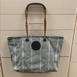 Tory Burch navy and white bag